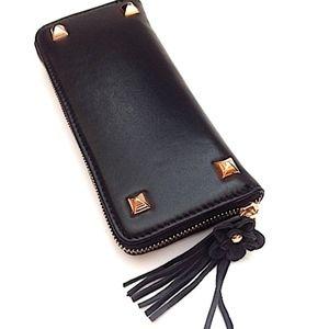 Handbags - Black Smooth Leather Stud Zip Around Wallet